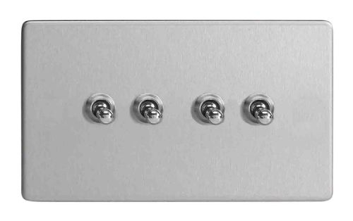 Varilight XDST9S Screwless Brushed Steel 4 Gang 10A 1 or 2 Way Toggle Light Switch